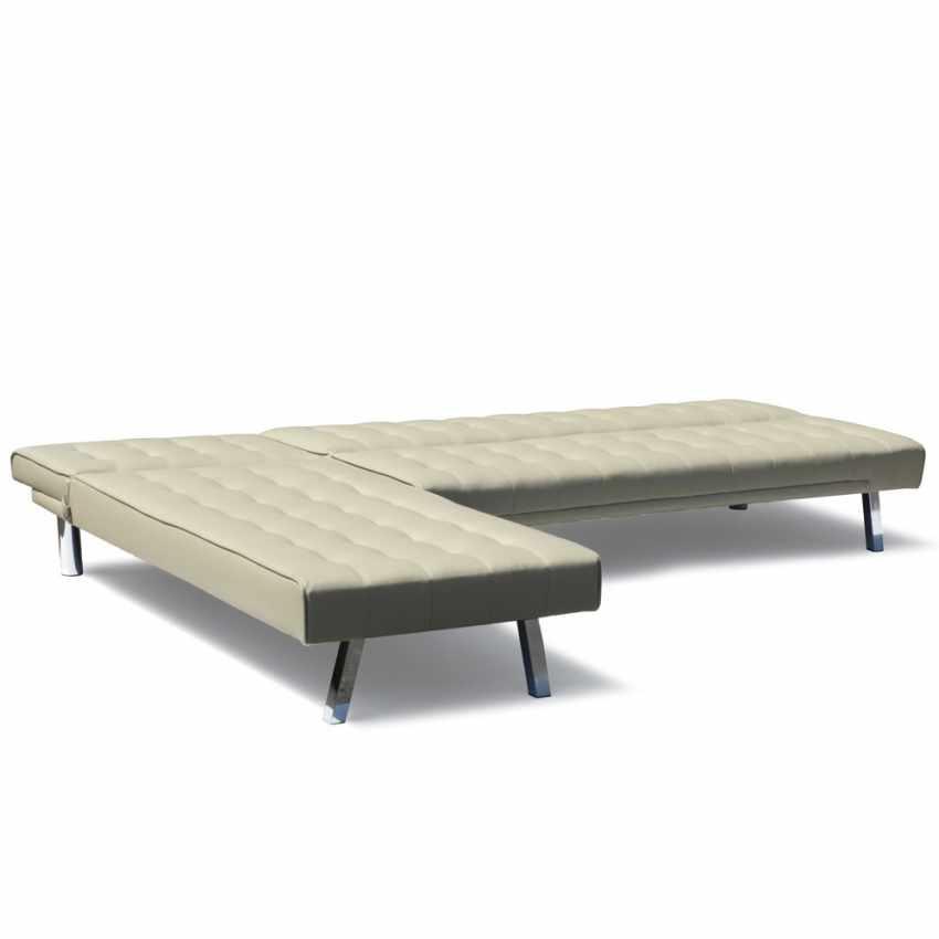 Canapé d'angle en faux cuir avec péninsule 3 places ZIRCONE - promo