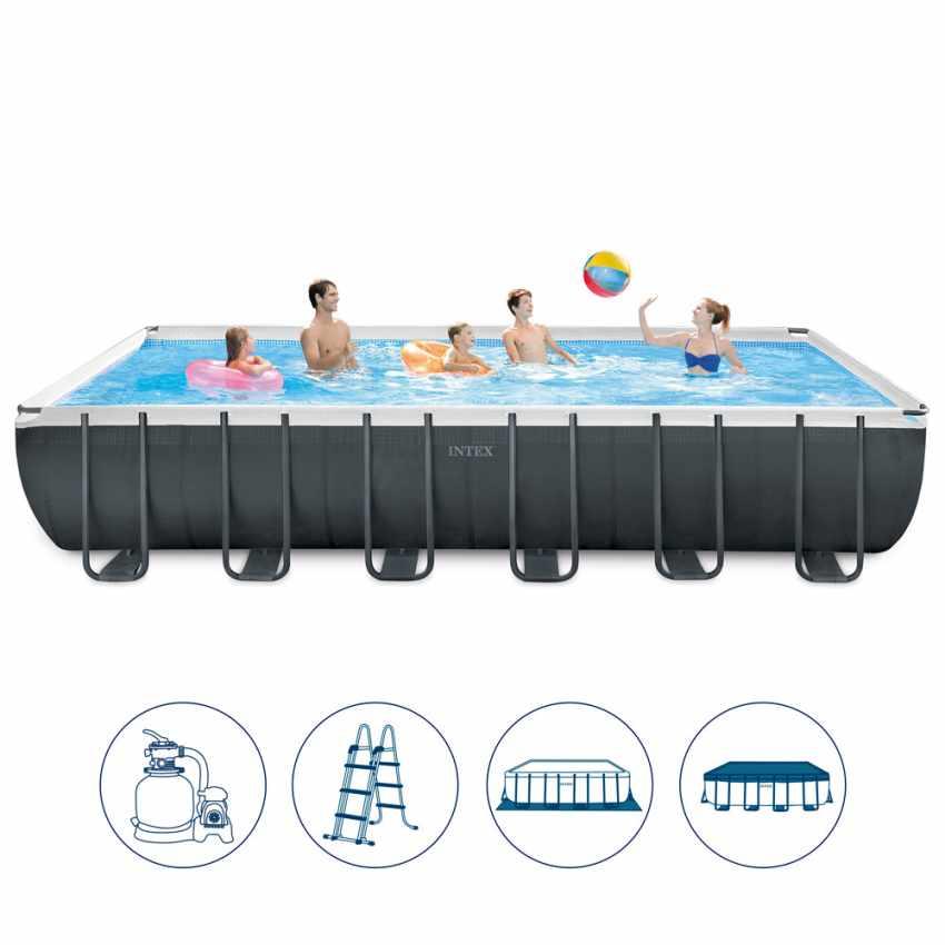 piscine intex 26364 ex 26362 hors sol rectangulaire ultra frame 732x366x132. Black Bedroom Furniture Sets. Home Design Ideas