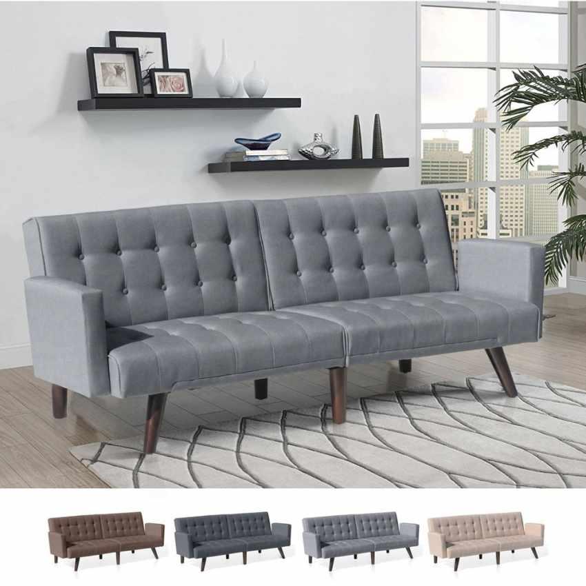 canap lit en tissu tir inclinable 3 places eliodoro. Black Bedroom Furniture Sets. Home Design Ideas