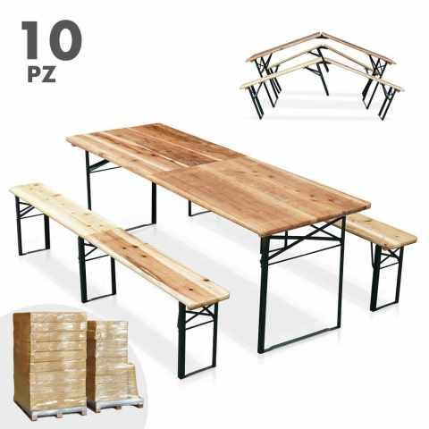SB220PGVSTO - Table de brasserie pliante bancs bois ensemble 220x80 10pz - azzurro