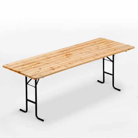 TA220LEG - Table de brasserie bancs en bois pour fêtes lieux publics 220x80 - arancione