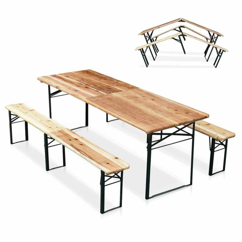 Table de brasserie 220x80 bancs bois pliante ensemble - dettaglio