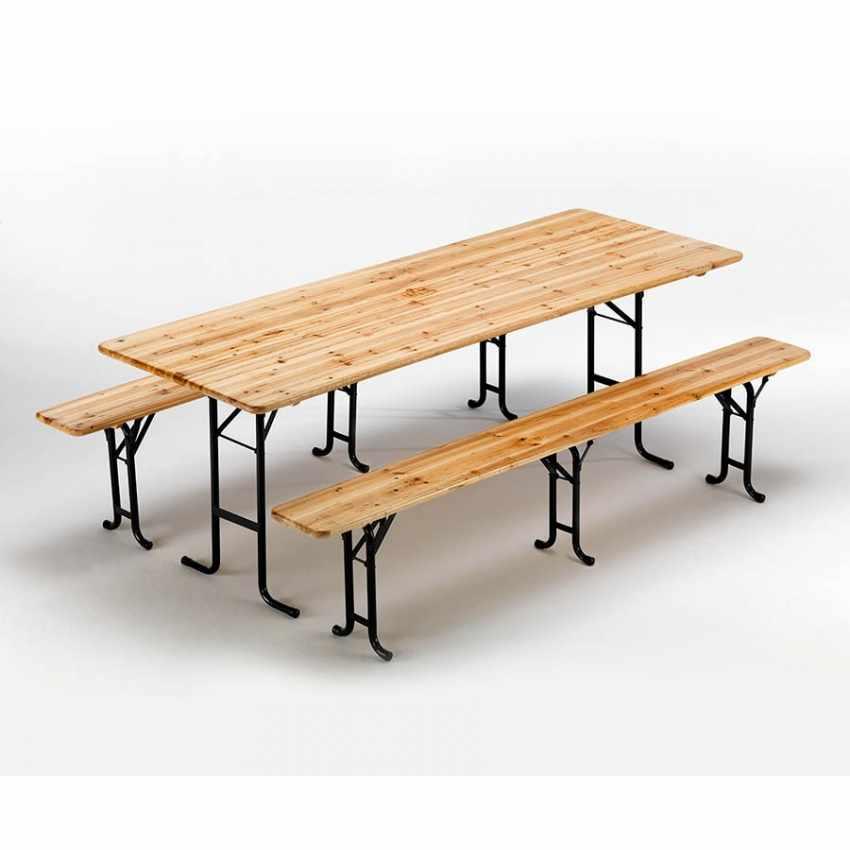 Table de brasserie bancs en bois 3 jambes pliant ensemble 220x80 10 pcs - nuovo