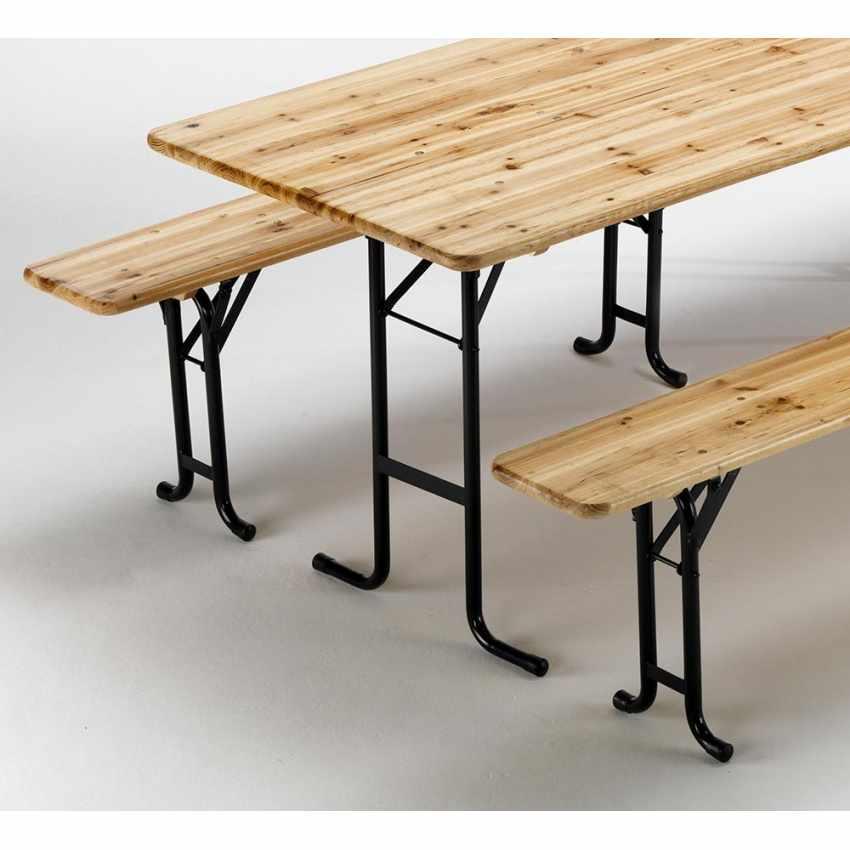 Table de brasserie bancs en bois 3 jambes pliant ensemble 220x80 10 pcs - offerta
