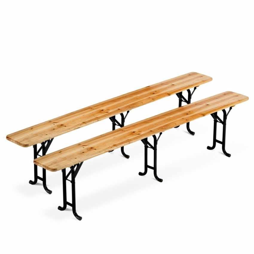 Table de brasserie bancs en bois 3 jambes pliant ensemble 220x80 10 pcs - dettaglio