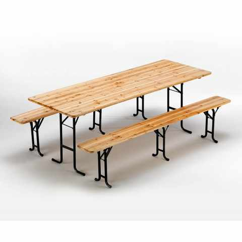 SB223LEG - Table de brasserie bancs en bois 3 jambes pliant festival jardin 220x80 - grigio