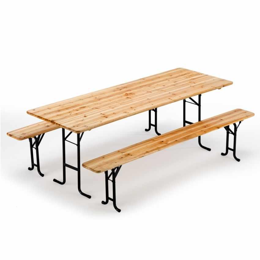 Table de brasserie bancs en bois pliant ensemble 220x80 10 pz - promo