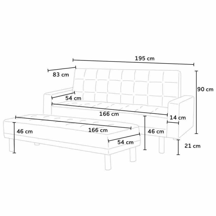 Canapé-lit avec repose-pieds et accoudoirs coussins 2 places  AGATA PLUS - offerta