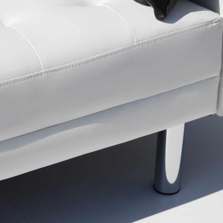 Canapé-lit en simili cuir avec accoudoirs et oreillers double 2 places  AGATA - vendita