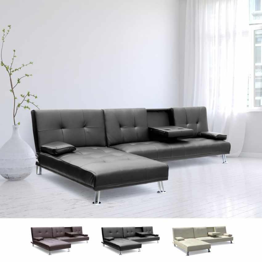 Canapé d'angle  3 places COBALTO pour salon et séjour avec accoudoir et péninsule - prezzo