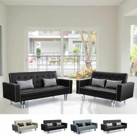 DI1748PUDM - Set 2 canapés-lits 3 + 2 places en simili cuir pour salon et sejour TANZANITE DUETTO - beige