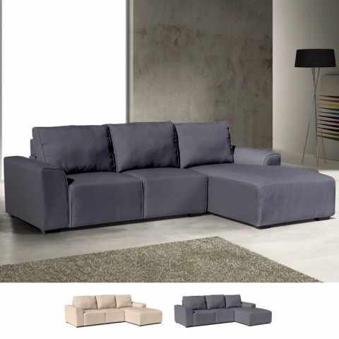 DIZ1701DI - Canapé d'angle avec chaise longue 3 places avec accoudoirs en tissu DIAMANTE - trasparente