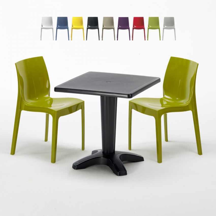 Table Carrée Noire 70x70cm 2 Chaises Grand Soleil Set Bar Café ICE AIA