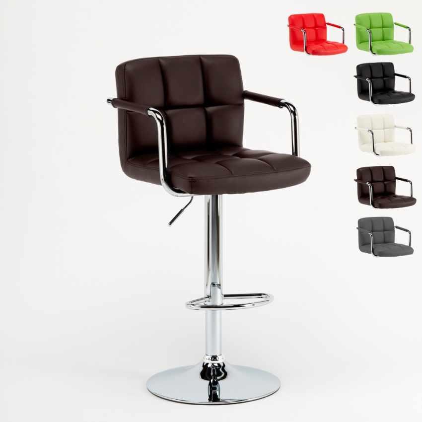 tabouret haut tournant r glable pour bar cuisine avec dossier et accoudoirs las vegas. Black Bedroom Furniture Sets. Home Design Ideas