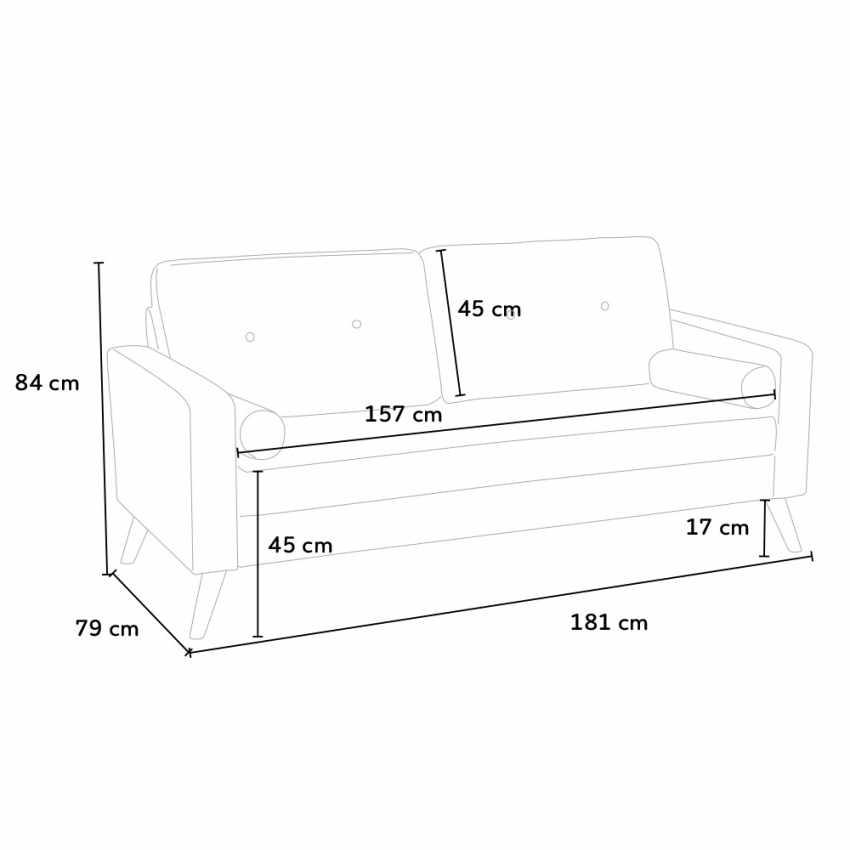 Canapé Design Moderne Style Scandinave en Tissu 3 Places pour salon et salle à manger ACQUAMARINA - arredamento