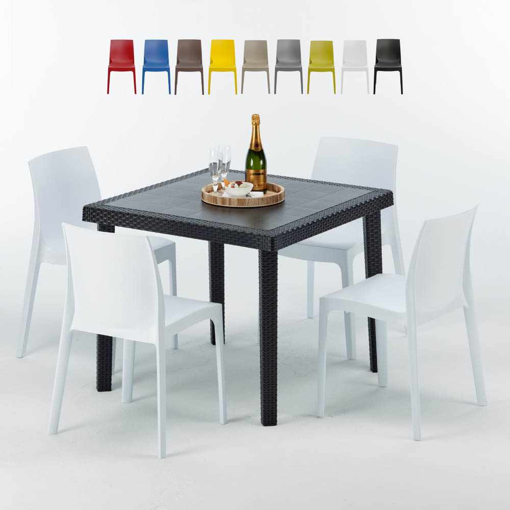 Table carr e noire 90x90cm 4 chaises set ext rieur bar Table bar carree