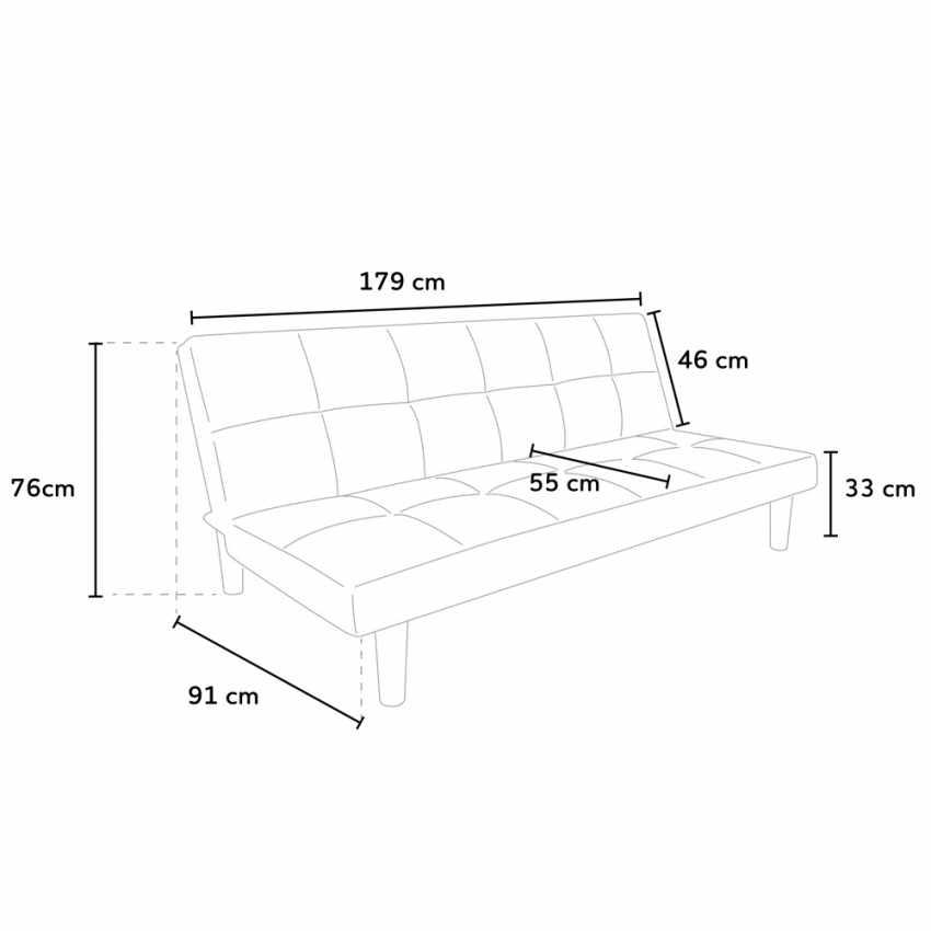 Canapé Convertible Design Minimaliste en tissu 2 Places pour maison et bureau GIADA - prezzo