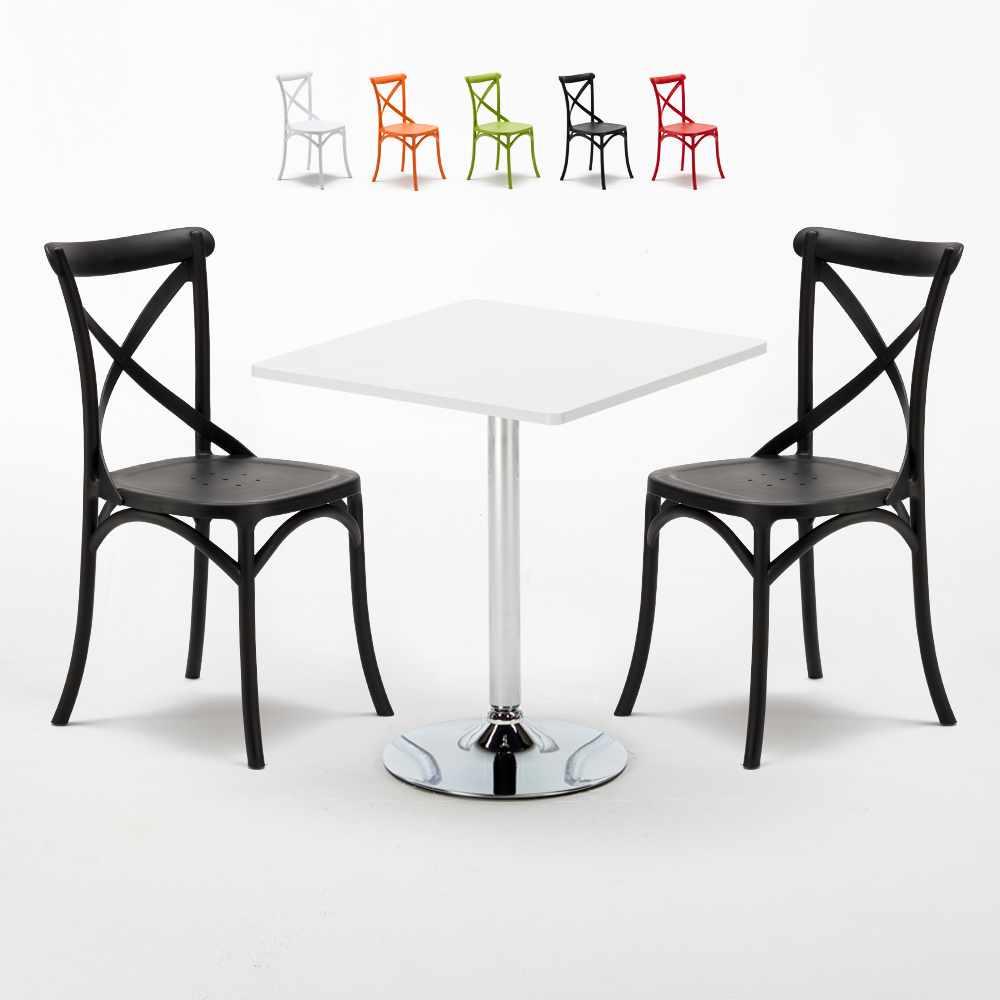 Table de jardin Table de bistrot table de camping table caractéristiques 70x70cm Plastique Table-Blanc