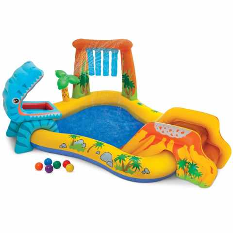 57444 - Piscine gonflable pour les enfants Intex 57444 Dinosaure Play Center jeu - crema
