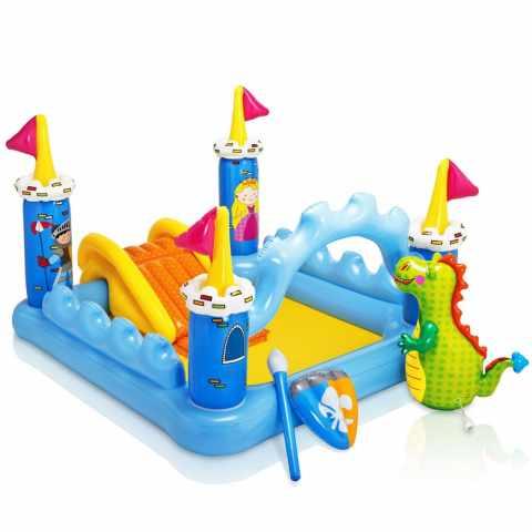 57138 - Piscine gonflable pour les enfants Intex 57138 Fantasy Castle château jeu toboggan - grigio
