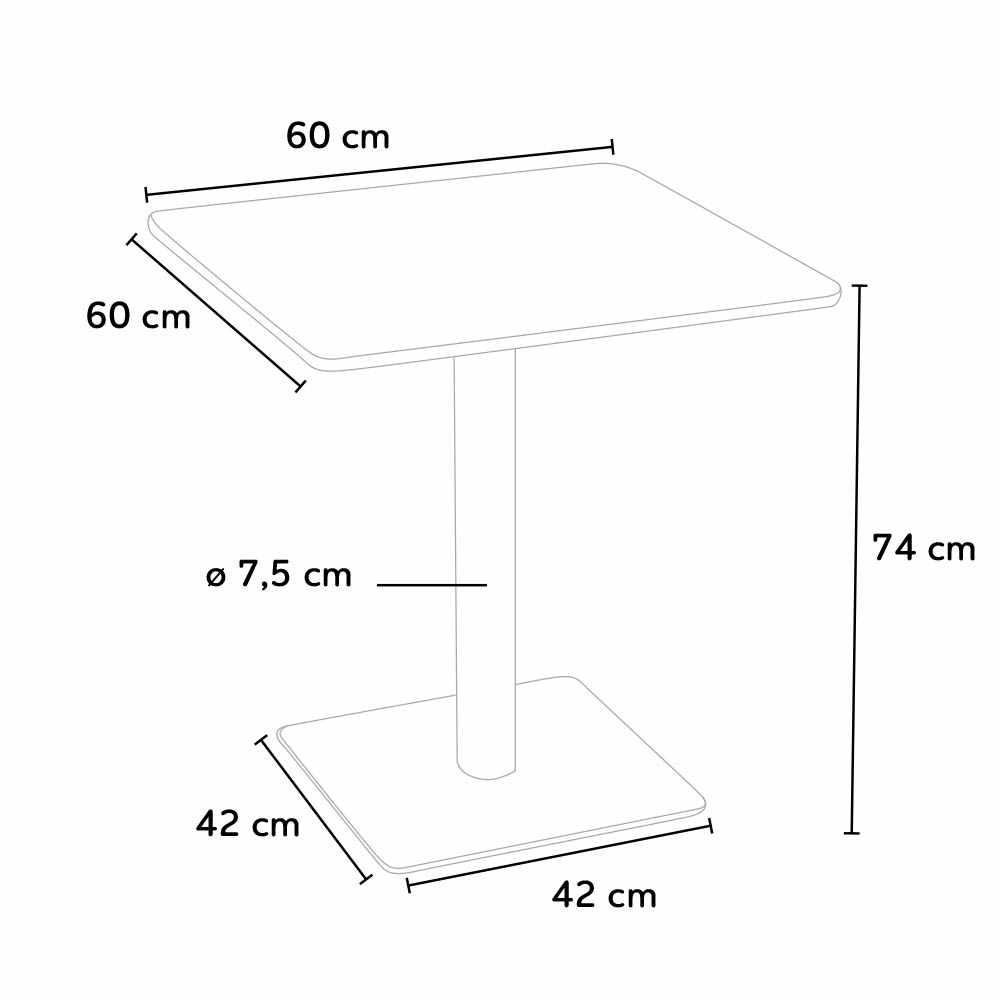 Table-60x60-carree-avec-pied-central-pour-bar-bistrots-HORECA miniature 16