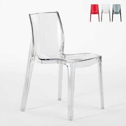 S6317 - Chaise transparent cuisine bar FEMME FATALE Grand Soleil Design en polycarbonate - nero