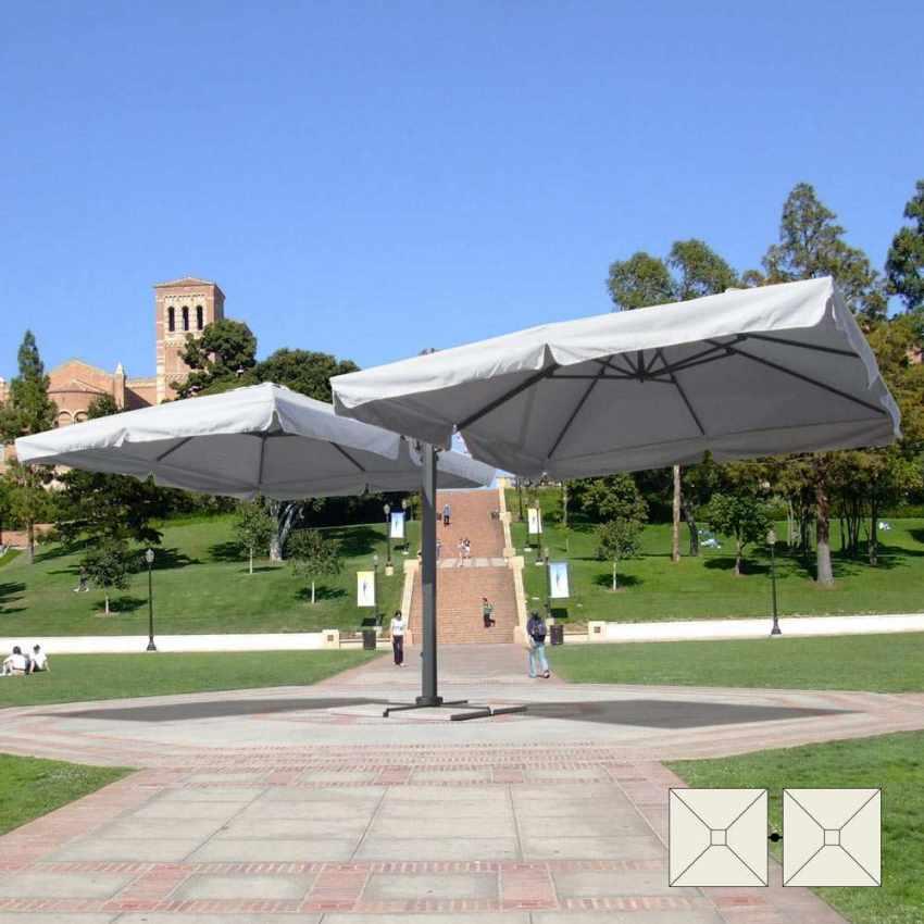 Parasol De Jardin Bras Et Mât Double Aluminium Bar Hôtel