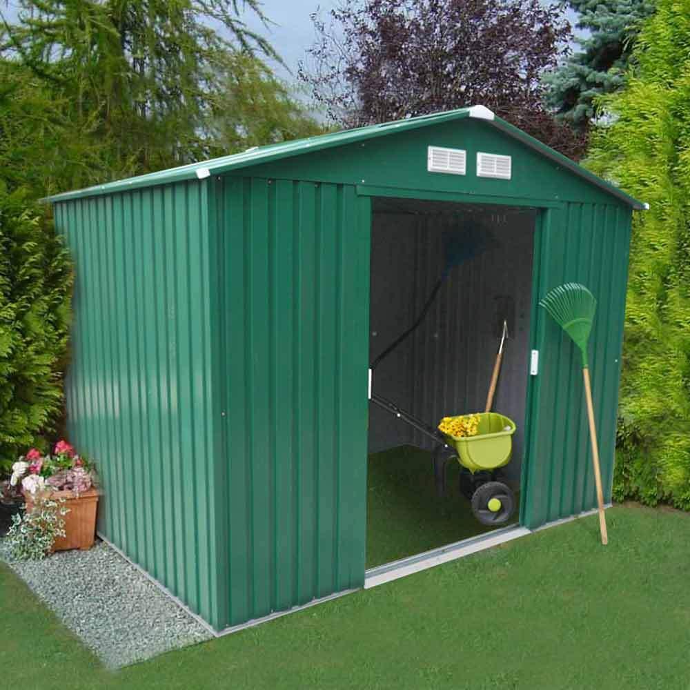 Cabane À Outils Bois abri de jardin box metal vert rangement outils cabane metal galvanisé  257x184 cm large