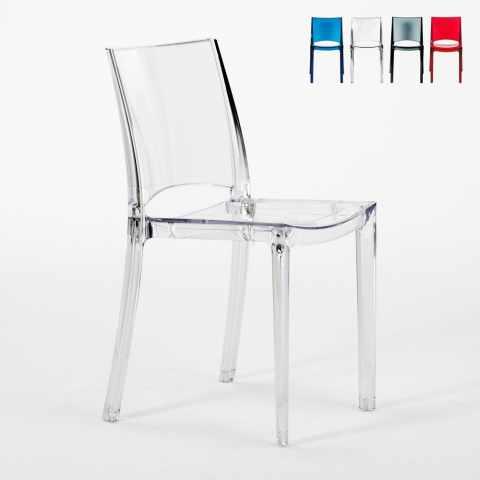 S6315TRBE16PZ - 16 Chaises B-SIDE Grand Soleil pour bar transparentes promo stock - bianco