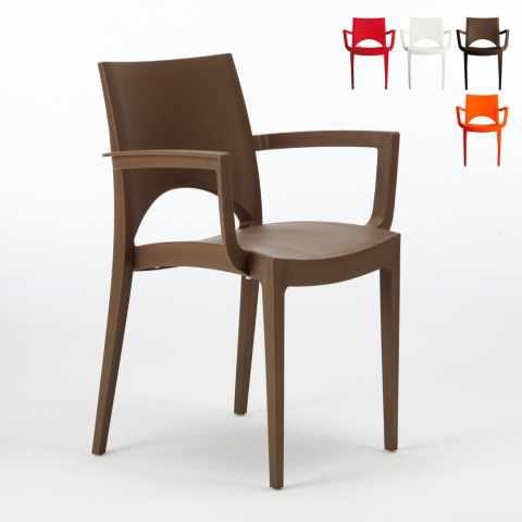 S6614 - Chaise avec accoudoirs en polypropylène bar restaurant PARIS ARM Grand Soleil - trasparente