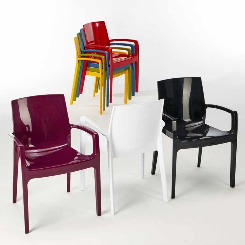 chaise empilable en polypropyl ne avec accoudoirs pour cuisine resto cream grand soleil. Black Bedroom Furniture Sets. Home Design Ideas