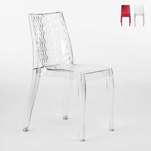 S6319TR - Chaise cuisine bar en polycarbonate transparent empilable bar café HYPNOTIC Grand Soleil - bianco