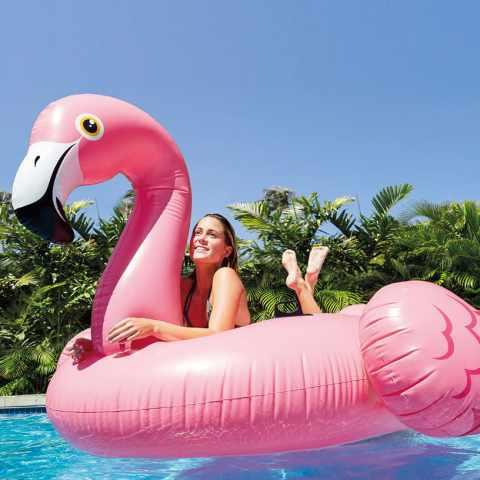 56288 - Intex 56288 matelas flamant rose gonflable géant flottant piscine fetes - trasparente