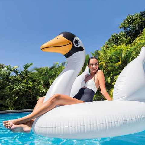 56287 - Intex 56287 cygne géant gonflable flottant piscine fêtes pool party  SWAN ISLAND - azzurro