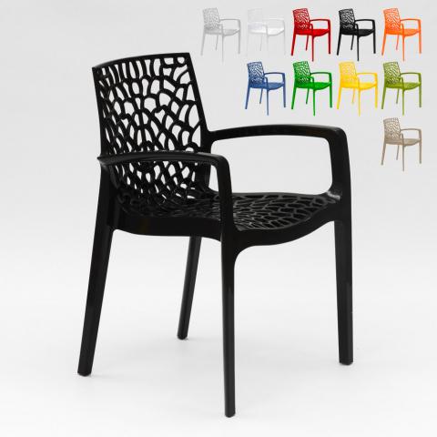 Chaise en polypropylène nid d'abeille salle à manger café