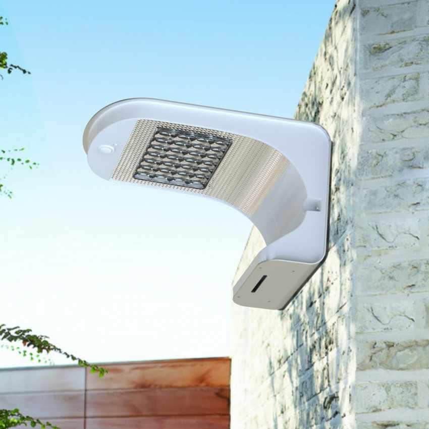 Lampe murale panneau solaire LED jardin extérieur REFLEX 28 Led - scontato