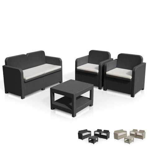 S7705 - Salon de jardin Grand Soleil SORRENTO en Poly rotin table basse fauteuils pour exterieur 4 places - nero