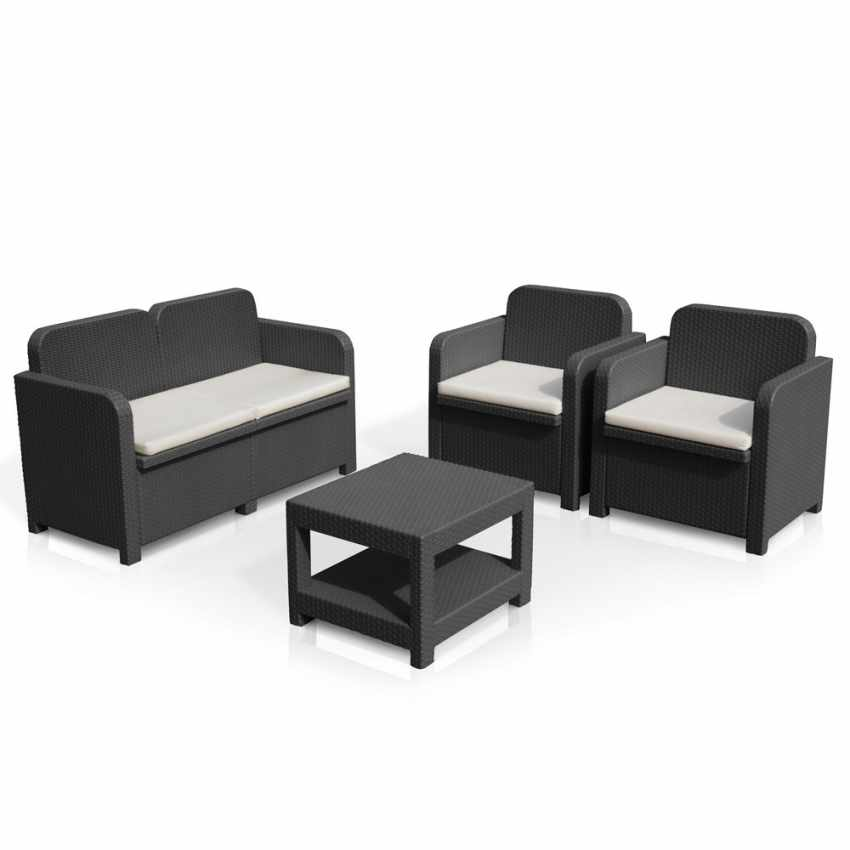 salon de jardin grand soleil sorrento en poly rotin table. Black Bedroom Furniture Sets. Home Design Ideas