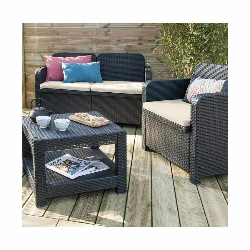 salon de jardin grand soleil sorrento en poly rotin table basse fauteuils pour exterieur 4 places. Black Bedroom Furniture Sets. Home Design Ideas