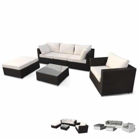 Salon de jardin en polyrattan Canapé table basse fauteuils 5 places ...