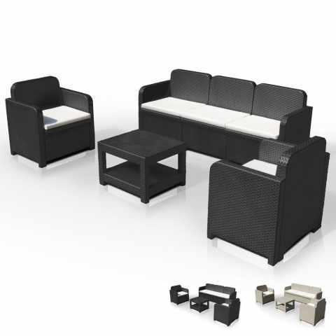 S7715 - Salon de jardin Grand Soleil POSITANO en Poly rotin Canapé table basse fauteuils 5 places pour extérieurs - nero