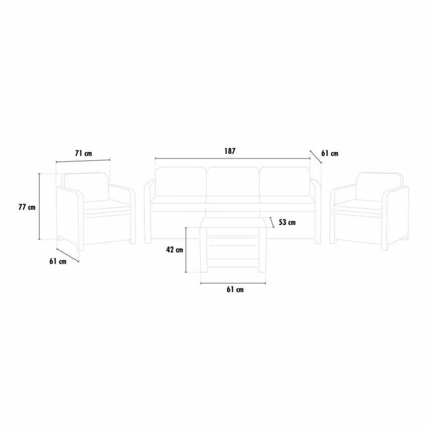 ... Salon de jardin en polyrattan Canapé table basse fauteuils 5 places pour  extérieurs - scontato 5ec572619bc4