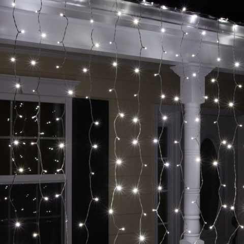 EN100CAL - Tente de Lumières de Noël solaires extérieures 100 LED effet neige - grigio