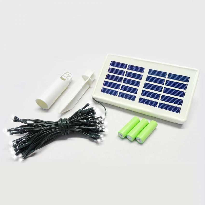 Réseau des lumières de Noël pour l'extérieur de 50 led solaire batterie longue durée de vie panneau - migliore