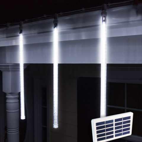 SF096LED - Lumières de Noël solaires LED exterieur energie solaire batterie longue durée panneau 4 glaçons - basso prezz