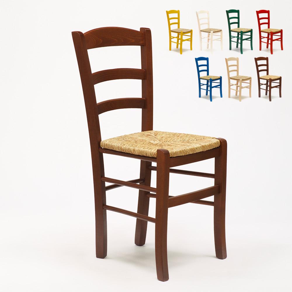 Chaise en bois et assise en paille salle à manger et ...