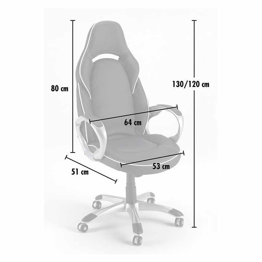 Chaise de bureau sport fauteuil gamer ergonomique simili cuir CLASSIC - dettaglio