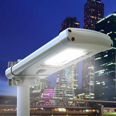 LS025LED - Lampadaire solaire Led 24 pour jardin parc STREET Design - giallo