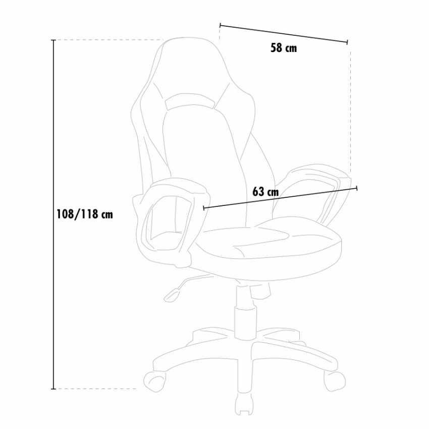 Chaise de bureau ergonomique en simili cuir sport fauteuil gamer PRO - arredamento