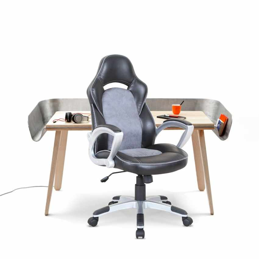 SU002RAC - Chaise de bureau sportive fauteuil gamer ergonomique simili cuir EVOLUTION - blu